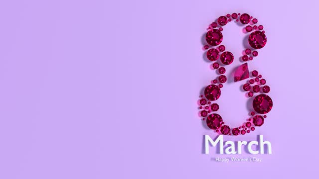 diamonds creates number 8 to celebrate 8 march international women's day on purple animation in 4k resolution - number 8 stock videos & royalty-free footage