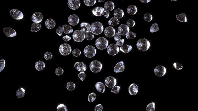 Diamonds fall onto the screen