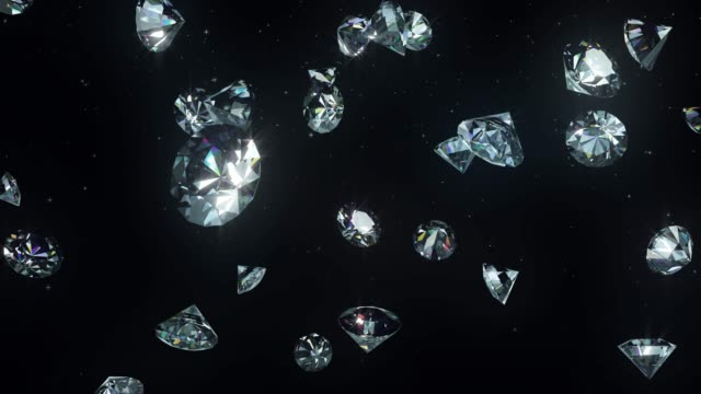 diamonds luxury background and alpha loopable 4k - stone object stock videos & royalty-free footage