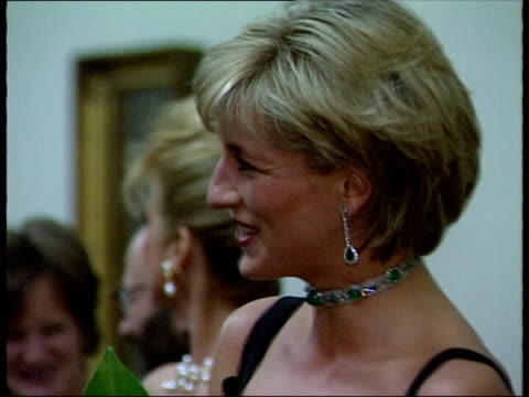 Diana and Dodi's death Date set for inquest LIB Diana Princess of Wales wearing black dress emerald knecklace