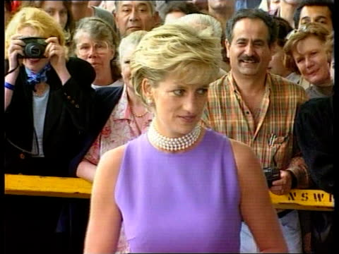 stockvideo's en b-roll-footage met diana continues visit cms princess diana along waves - 1996