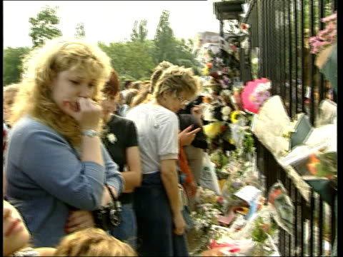 diana death 1st anniversary; b)22.30: kensington palace itn england: london: kensington palace: night: tgv floral tributes covering ground outside... - palace video stock e b–roll