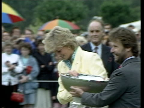 ms diana holding silver jubilee cup with man and lr as they give it to prince charles and she kisses him - 1987 stock videos & royalty-free footage