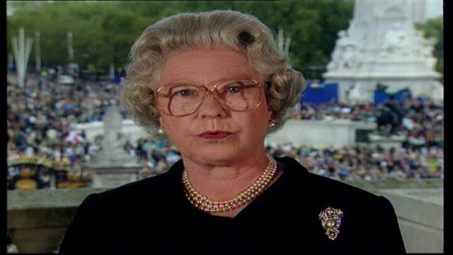 10th anniversary of death did britain change tx buckingham palace int queen elizabeth ii tribute to diana sot - tribute event stock videos & royalty-free footage