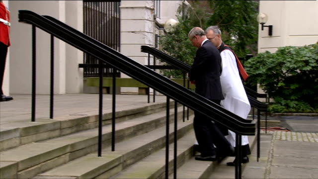10th anniversary of death Memorial service Prince William and Prince Harry waiting outside chapel Prince Charles arriving and greeted by Reverend...