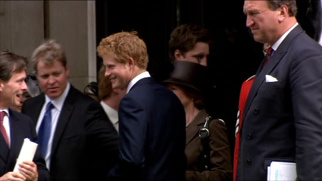10th anniversary of death Memorial service EXT Prince Harry on steps outside Chapel shakes hands with Earl Spencer