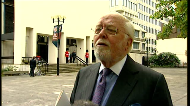 10th anniversary of death Memorial service Arrivals Lord Richard Attenborough interview SOT Talks of his memories of Diana Princess of Wales