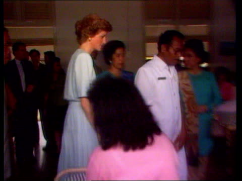 Diana Princess of Wales attends leprosy conference TX Jakarta INT SEQ Princess of Wales visiting leprosy hospital and meeting patients