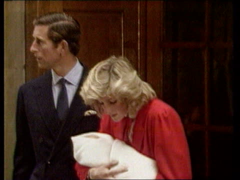 diana princess of wales collection 127619 london st mary's hospital diana holding prince harry and standing next to prince charles as leave hospital... - new life stock videos and b-roll footage
