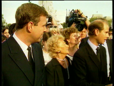 part 3 tx england london buckingham palace prince edward and prince andrew along among crowds outside palace away to palace - palace stock-videos und b-roll-filmmaterial