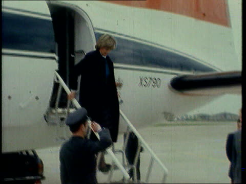 stockvideo's en b-roll-footage met part 4 tx heathrow prince charles and diana arrive heathrow watching presentation of colours / prince charles beckoning golden labrador from plane... - 1981