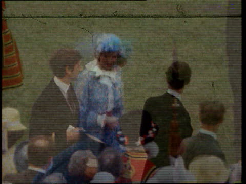 Part 4 TX Buckingham Palace Diana Charles at Buckingham Palace Garden Party / Diana wearing blue floral dress with white frill neck and blue hat...