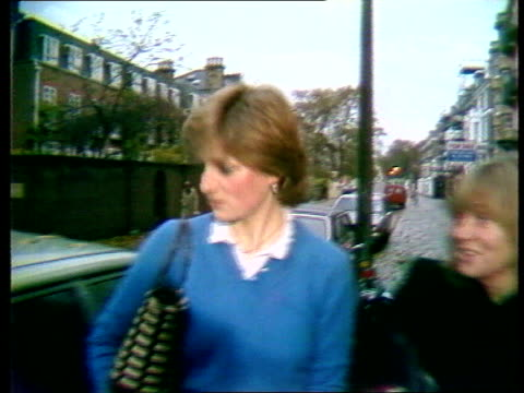 Part 5 107045 Marriage speculation continues ENGLAND London Diana Spencer walking towards in street talking noncommitedly with ITN journalist Carol...