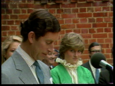 part 5 110145 prince charles and diana spencer at opening of exhibition at lord mountbatten's house england hampshire broadlands close shot of diana... - hampshire england stock videos and b-roll footage