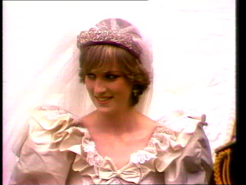 Part 5 111245 Royal wedding ENGLAND London St Paul's Cathedral Close shot of Diana walking down steps outside St Paul's Cathedral after her wedding
