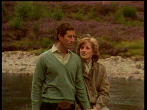 part 5 111538 posthoneymoon photocall on balmoral estate scotland balmoral prince charles and princess diana posing for press diana resting her head... - honeymoon stock videos & royalty-free footage