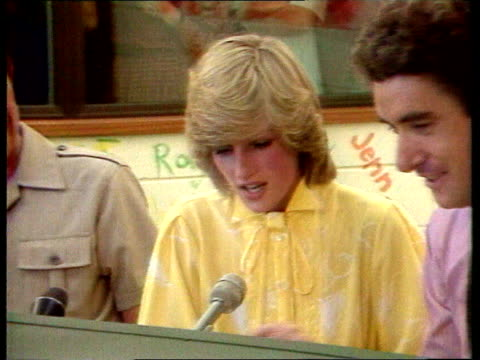 Part 5 119763 Princess Diana at radio station AUSTRALIA Almaston Gorge Close shot of Diana in yellow shirt at Australian radio 'school of the...