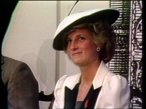 diana, princess of wales collection: part 5; 133421 tx prince and princess of wales visit washington, usa usa: washington d.c: princess diana seated... - prinzessin diana von wales stock-videos und b-roll-filmmaterial