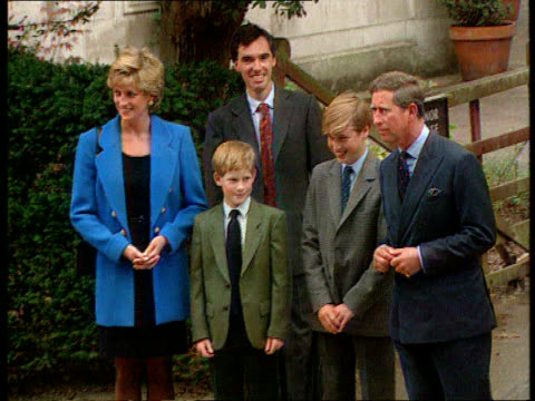 part 5 s04099701 prince william's first day at eton england berkshire eton college diana in blue jacket with her children camera pulls out revealing... - eton berkshire stock videos and b-roll footage