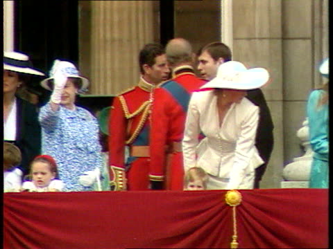 part 5 s04099701 royal family make balcony appearance after trooping the colour england london buckingham palace royal family leaving balcony as... - 1987 stock videos & royalty-free footage