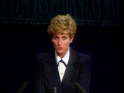 Part 5 SPL0627 Diana On Her Own Princess Diana speech on AIDS Location unknown Diana in pinstripe suit making speech on AIDS