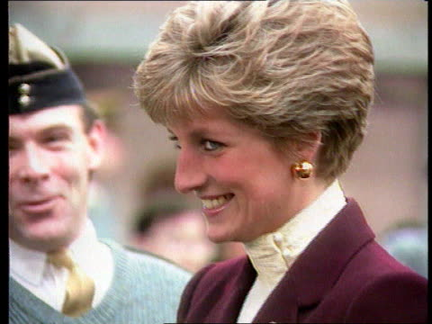 Part 5 SPL0627 Diana On Her Own Princess Diana with troops Location unknown Close shot of Diana in maroon outfit talking to troops