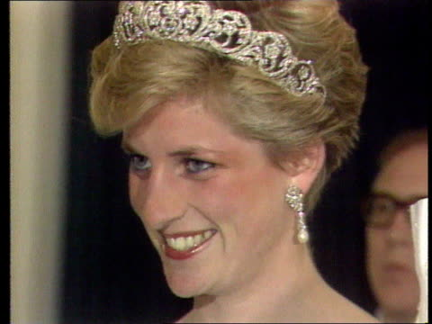 diana, princess of wales collection: part 5; spl0628 tears of a princess princess diana location unknown: close shot of diana in tiara and pearl... - princess stock videos & royalty-free footage