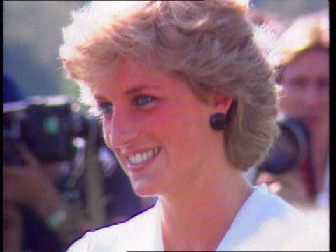 diana, princess of wales collection: part 5; t06099211 tx 6.9.1992 princess diana location unknown: close shot of diana smiling, sun back-lighting... - hair back stock videos & royalty-free footage