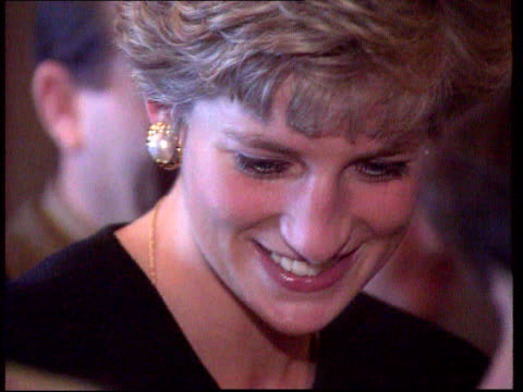 Part 5 T06099211 Princess of Wales Location unknown Close shot of Princess Diana smiling wearing a dark top
