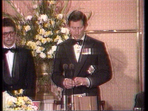 diana, princess of wales collection; tx 1983 new zealand: banquet; prince charles jokes in speech about needing two wives for working both sides of... - desire stock videos & royalty-free footage