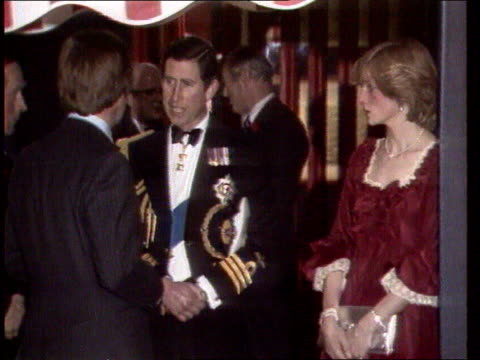 diana princess of wales collection tx diana shaking hands with dignatories on arrival at function and presented with flowers diana and prince charles... - collection stock videos and b-roll footage