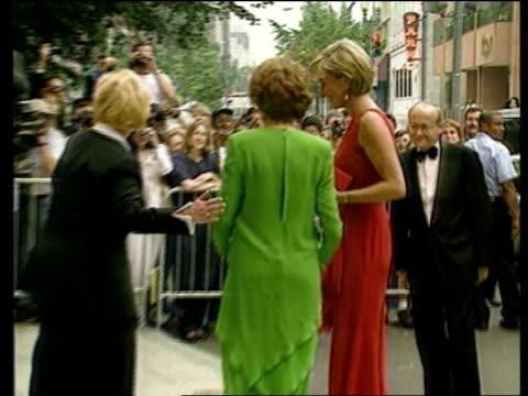 diana, princess of wales death: us reactions; lib mat held in bureau ???: princess diana in red dress being greeted and shaking hands ???: princess... - dress stock videos & royalty-free footage