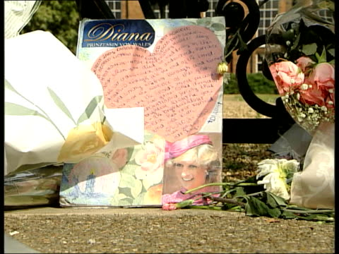 vídeos y material grabado en eventos de stock de first anniversary of death ltn sue england london kensington ext people gathered around floral tributes left by gates of kensington palace to mark... - muerte