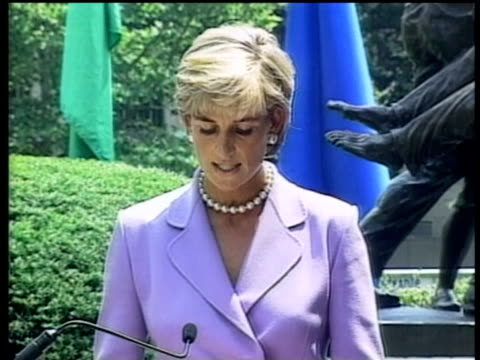 Diana Princess of Wales gives speech declaring her dedication to international campaign to outlaw land mines Washington 17 Jun 97
