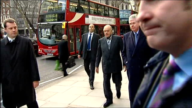 Jury see Diana letters to Duke of Edinburgh Mohammed Al Fayed arriving at court and stopping for photographers
