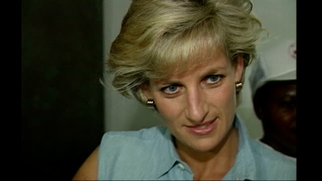 diana, princess of wales inquest: lord condon evidence; september 1997 angola: int diana, princess of wales visiting red cross orphanage - princess stock videos & royalty-free footage
