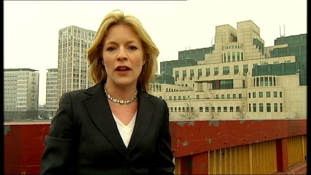 diana, princess of wales inquest: sir richard dearlove evidence; london: mi6: ext reporter to camera - mi6点の映像素材/bロール