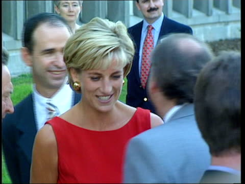 Diana Princess of Wales memorial fountain ITN LIB Diana Princess of Wales wearing red dress as along to meet people Tessa Jowell MP interviewed SOT...