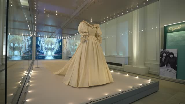 """diana, princess of wales's wedding dress on display during the """"royal style in the making"""" exhibition photocall at kensington palace on june 2, 2021... - dress stock videos & royalty-free footage"""
