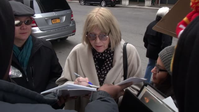 diana rigg arrives at the mandarin oriental hotel signs for fans before going in in celebrity sightings in new york - diana rigg stock videos & royalty-free footage