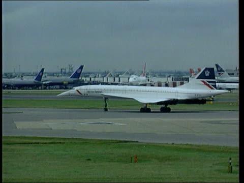 Diana Ross on her Heathrow arrest LIB London Heathrow Airport EXT British Airways Concorde at gate Concorde taxiing PAN British Airways aircraft away...