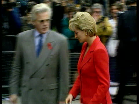 diana video hoax/ duchess of york press scrutiny london lighthouse princess of wales arriving to attend aids fundraising event - itv news at ten stock-videos und b-roll-filmmaterial