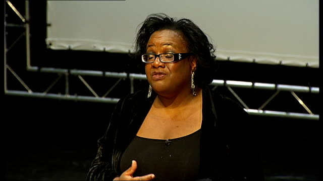 diane abbott criticised for twitter comment about 'white people' r28051005 **dutt interview overlaid sot** abbott making speech abbott surrounded by... - diane abbott stock videos & royalty-free footage