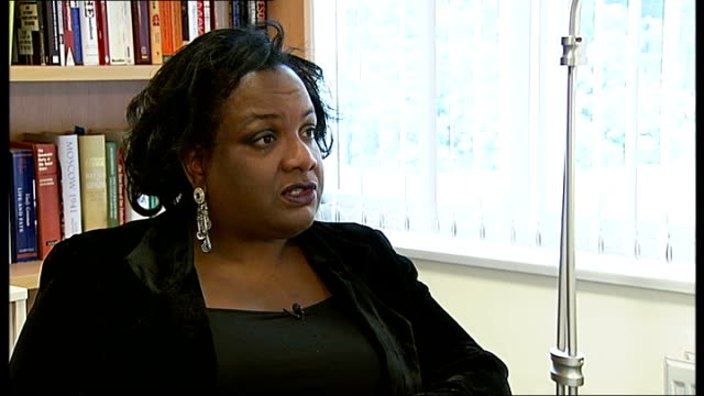 diane abbott interview sot - have to look at top rate of tax diane abbott signing autograph at leadership launch - autogramm stock-videos und b-roll-filmmaterial