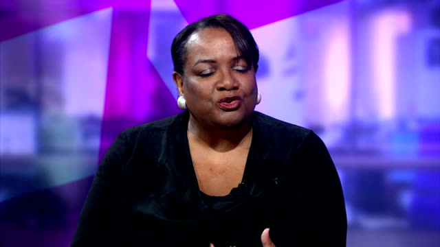 diane abbott sacked from shadow cabinet by ed miliband england london gir int diane abbott mp live studio interview sot - キャシー・ニューマン点の映像素材/bロール