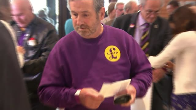 diane james elected new leader of ukip england dorset bournemouth int ukip supporter wearing tshirt with slogan 'we did it' and holding scarf with... - diane james politik stock-videos und b-roll-filmmaterial