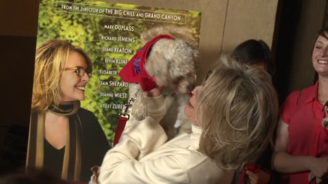 diane keaton with a dog at darling companion los angeles premiere on 4/17/12 in hollywood ca - diane keaton stock videos & royalty-free footage