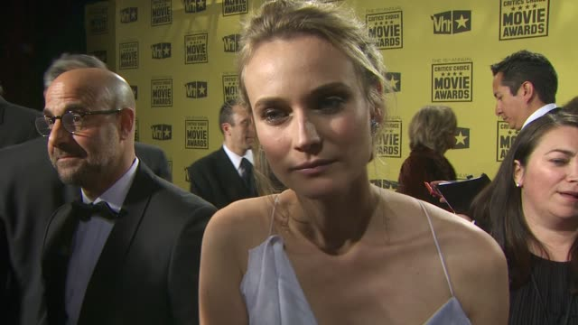 diane kruger on who she's wearing, how she's gearing up for award season, what makes the critics choice awards different from any other award show,... - critics' choice movie awards stock videos & royalty-free footage