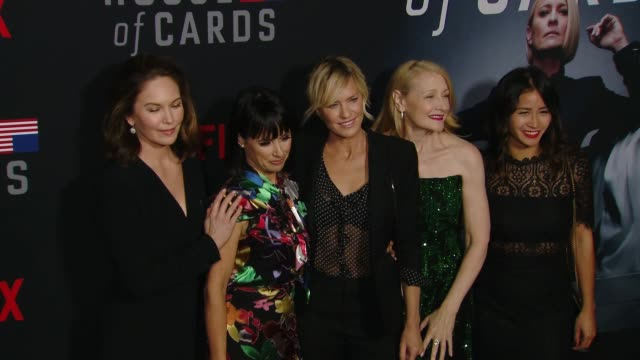 diane lane constance zimmer robin wright patricia clarkson and nini le huynh at the house of cards season 6 premiere at dga theater on october 22... - robin wright stock videos and b-roll footage