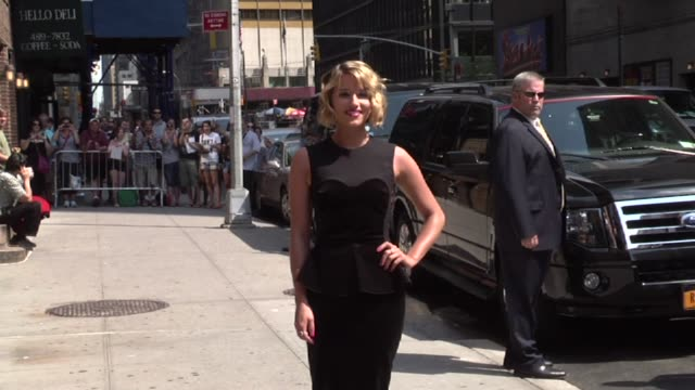 dianna agron at the 'late show with david letterman' studio on - dianna agron stock videos and b-roll footage